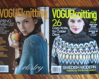 2 Vogue Knitting Magazines Spring Summer 2012 and Winter 2015/16 Knitting Patterns Free US Shipping!