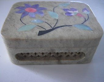 Soapstone Box with Inlaid Design and Open Carved Sides.