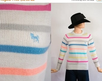 SALE Vintage Spring Knit Sweater / Pastel Stripes Jumper Top / 1970s Prep / 1980s Striped Sweater / 70s Ski / 80s Fitted Shirt / Small / Med