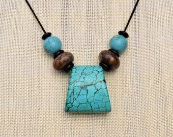 Vintage Turquoise Trapezoid Pendant Choker Necklace with Antique Jade and Vintage Tibetan Turquoise and Agate Beads on Black Nylon Cord