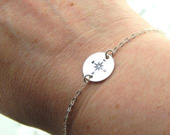 Silver Compass Bracelet,Hand Stamped Compass Bracelet,Graduation Gift,Sterling Silver