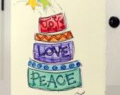 "Birthday Cake Happy Birthday Watercolor Original Card ""Big Card"" 5x7 With Matching Envelope  betrueoriginals"