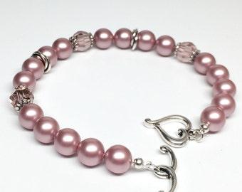 Pink Pearl Bracelet, Rose Pink Bracelet, Swarovski Pearl Bracelet