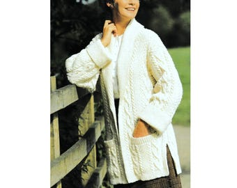 INSTANT DOWNLOAD PDF Vintage Knitting Pattern   Aran Car Coat   Jacket Cardigan    Cable Pattern  Row by Row