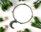 Wandering Crescent - Sterling Silver Moon Bangle