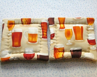 beer glasses and mugs hand quilted set of 2 potholders hot pads