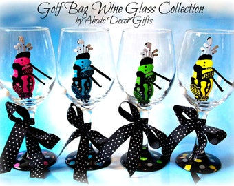 Wine Glass, Golf, Golf Bag, Golf Ball, Golfer, Gift, Ladies, Woman, Gift, Hand Painted, Lady Golfer Gift, Golf Team Gifts, Unique Golf glass