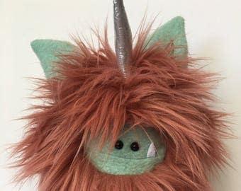 Plush Unicorn Monster Softie - Plush Monster Doll - Cute Stuffed Unicorn Toy - Limited Edition Handmade Plush Toy - Rose Fur Fuzzlicorn