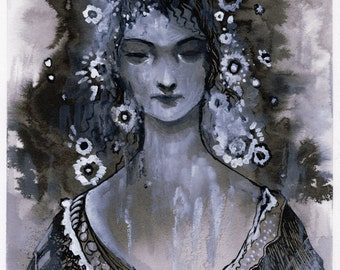 Original Painting Ink and Gouache Inktober day 09