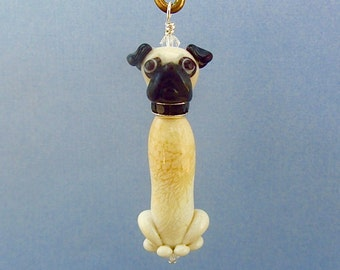Pug Pendant or Ornament - Handmade Lampwork Glass Beads SRA