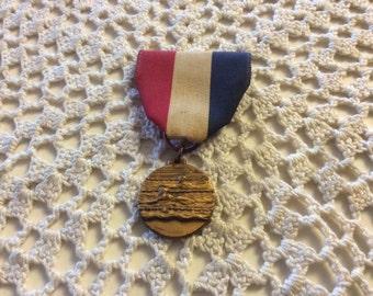 Vintage Swimming Charm Pendant Award Medal & Ribbon