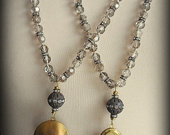 Vintage Brass Locket Knotted Bead Necklace
