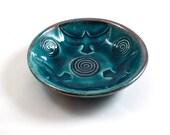 RAKU RAVEN Spiral  BOWL Handmade Ceramic Pottery