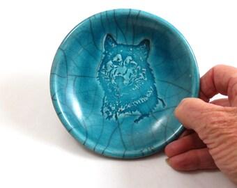 Wolf Bowl Handmade Ceramic Raku Pottery