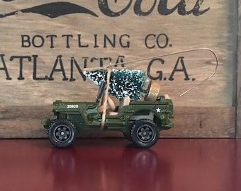 Army Jeep Carrying Christmas Tree Ornament