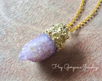 Spirit Quartz pendant necklace-electroplated geode- spirit quartz- druzy quartz- valentines gift