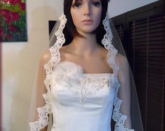 Wedding Mantilla 4 inch French Alencon Light Ivory