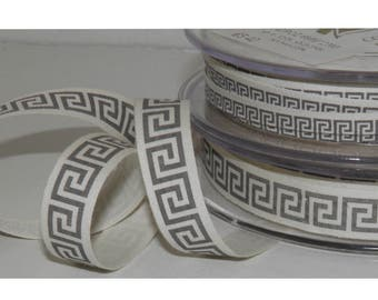 2 Meters Polyester Printed Greek Ribbon Meander Craft Decorations 6mm - 15mm Wide, Ancient Greek Design