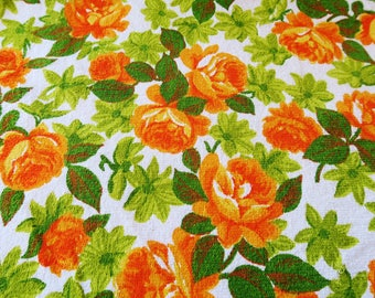 Vintage towelling fabric,  50s terry cloth,  floral towelling, 1950s fashion, vintage dressmaking, orange floral cotton, retro fabric