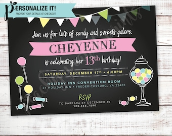 Candy Land Shop Birthday Party Invitation Chalkboard // Pink Purple Blue Pastel // Personalized Printable // 4x6 OR 5x7 // Custom Invite