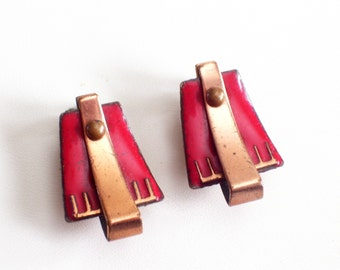 Modernist Copper Earrings, Vintage MATISSE Copper Red Enamel SCULTURA Modernist Earrings, Matisse Jewelry,  MCM Copper Earrings
