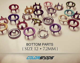 COMBINE 19 COLORS • Enamel Smallest Snaps • Size 12 • 9/32 • 5/16 • 7 mm • Snap • Ring • Button • Fastener • Prong • Doll • Mini • Small