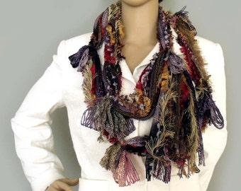 Scarf necklace, Loose yarn lariat, Boho scarf, Fiber art scarf, Scarf lariat, Hippie gypsy scarf, Infinity scarf, Tassel scarf, Etsy Gifts
