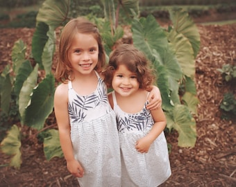 Girl's Dress - Strappy Girl Dress - Tropical Palm Leaf Print  - Baby, Toddler, Youth Dress - made in Maui, Hawaii USA
