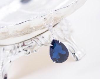 Wedding Jewelry, Bridesmaid Necklace, Navy Blue Crystal Teardrop Bridal Necklace