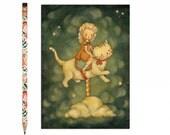 Kitten Postcard, Kitten Card, Cat, Kitty, Animal Art, Cute, Girl, Carousel, Stars, Night Sky, Story, Cat Lover