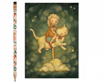 Kitten Postcard, Kitten Card, Cat, Kitty, Animal Art, Cute, Girl, Carousel, Stars, Night Sky, Story, Cat Lover