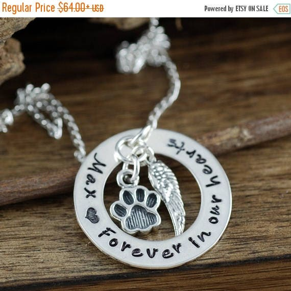 15% OFF SALE Personalized Pet Memorial Necklace, Forever in our Hearts, Hand Stamped Memorial, Pet Remembrance Jewelry, Loss of Pet Jewelry,