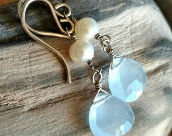 Gray blue faceted quartz briolette and cultured white pearl oxidized sterling silver drop earrings - wire wrapped handmade gemstone jewelry