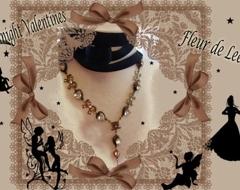 Vintage Ribbon Sparkling Magical Midnight Necklace