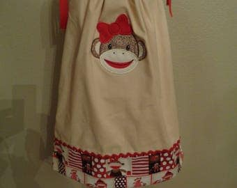 Sock Monkey Pillowcase  Dress