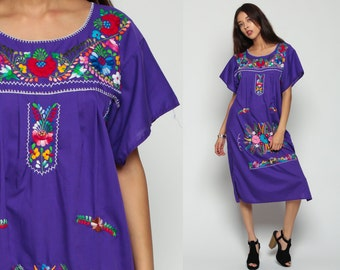Mexican Dress EMBROIDERED Midi Hippie Boho 80s Ethnic Purple Tent Bohemian Floral Cotton Tunic Traditional Rainbow Medium