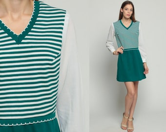 70s Mini Dress Mod Striped Retro Green High Waisted 1970s Twiggy Vintage V Neck Minidress Long Sleeve White Ringer Large