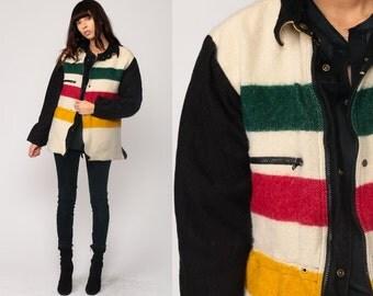 Wool Jacket 80s Hudson Bay Style Blanket REVERSIBLE Striped Zip Up 1980s Bohemian Black Anorak Vintage Boho Cream Small Medium