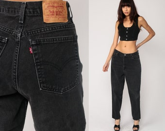 Black Levis Jeans Mom Jeans High Waist Jeans 80s Jeans FADED Levi Denim Pants 550 Vintage Hipster Tapered Straight Leg Large 31