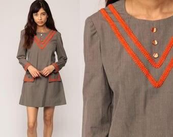 70s Mini Dress Space Age CHEVRON STRIPE Mod Shift 60s Scooter Twiggy Taupe Orange Vintage Gogo Long Sleeve Medium