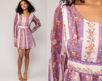 70s Mini Dress Floral Print Bohemian Babydoll 1970s Boho Mod Vintage Empire Waist Purple Peasant Twiggy Long Sleeve Minidress small