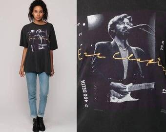 Eric Clapton Shirt 90s Band Tee Concert Tshirt Rock N Roll Tour T Shirt Guitar Graphic Print Vintage 1990 Black Large
