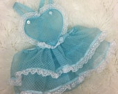 Vintage Style Baby Dolly Valentine Heart Sun Suit Romper in Sheer Baby Blue Swiss Dot