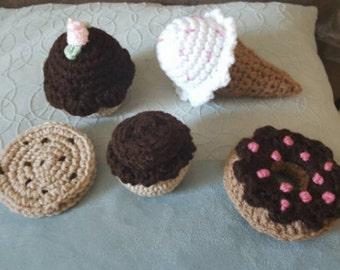 crochet cupcake donut ice cream cookie food toy kitchen pretend play lot 5 pcs