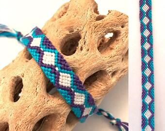 Friendship bracelet - embroidery floss - diamond pattern - blue - purple - white - handmade - macrame - woven - string