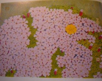 Alpine Wildflowers Botanical Print -  Flower Lithographs - vibrant colors- double sided - ready to frame - Carnations Pink Moss - glacial