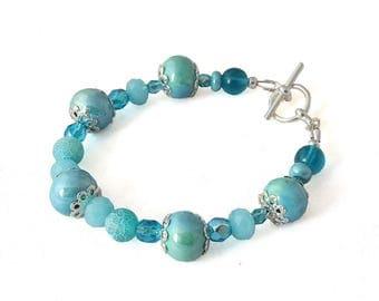 Glass Bead Bracelet - Turquoise Blue Bracelet - Ceramic Bracelet - Crystal Bracelet - Elegant Jewelry - Gifts for Her - Gifts under 20