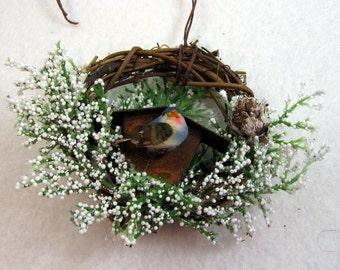 Blue Bird and Rustic Birdhouse Christmas Ornament 504