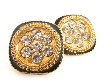 Vintage Large Rhinestone and Black Enamel Clip on Earrings