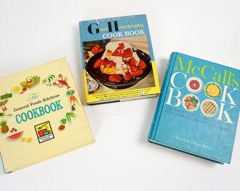 Vintage 1960s Cookbook Set McCalls Good Housekeeping General Foods Kitchen Hc, Recipes Menus Mid Century Food Cooking Suzy Homemaker